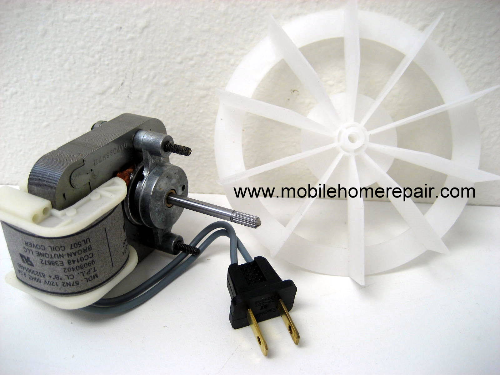 120V bathroom fan motor kit with 2 prong plug.